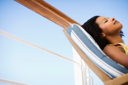 Woman Relaxing On A Vacation Cruise