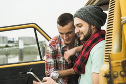 Men By Car Viewing Debt Consolidation Options