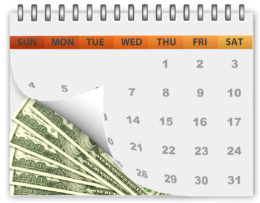 Calendar Showing Money Savings Over Time