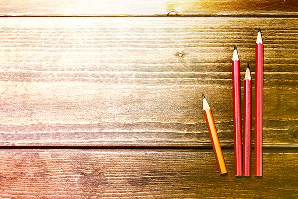 pencils on wood table