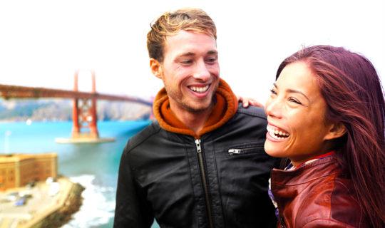 man and woman near Golden Gate bridge in San Francisco
