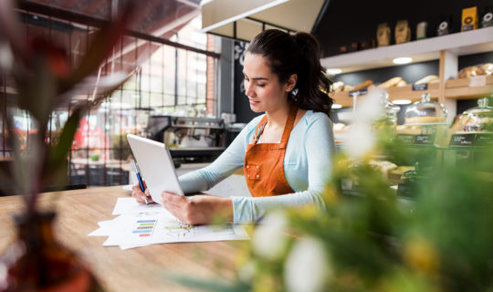 female business owner reviewing business plan finances